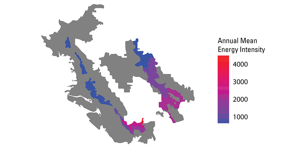 East Bay Municipal Utility District energy intensity by pressure zone. Study funded by Pacific Gas & Electric.
